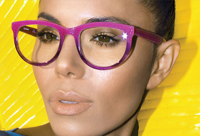 l.a.Eyeworks woman wearing bold acetate with purple brown cats eye shape