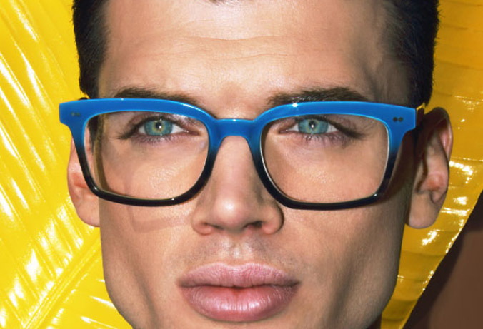 l.a.Eyeworks square bold acetate mens frame with bold blue colour on man with yellow background