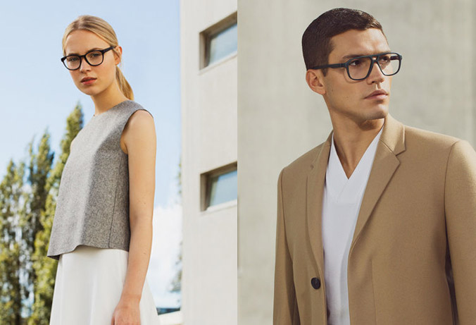 short haired man in white shirt and camel blazer wearing Mykita Eyewear glasses